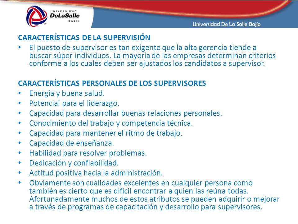CARACTERÍSTICAS DE LA SUPERVISIÓN