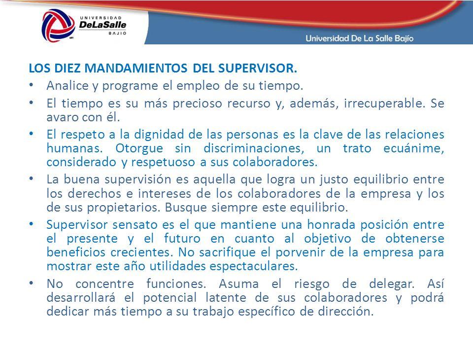 LOS DIEZ MANDAMIENTOS DEL SUPERVISOR.