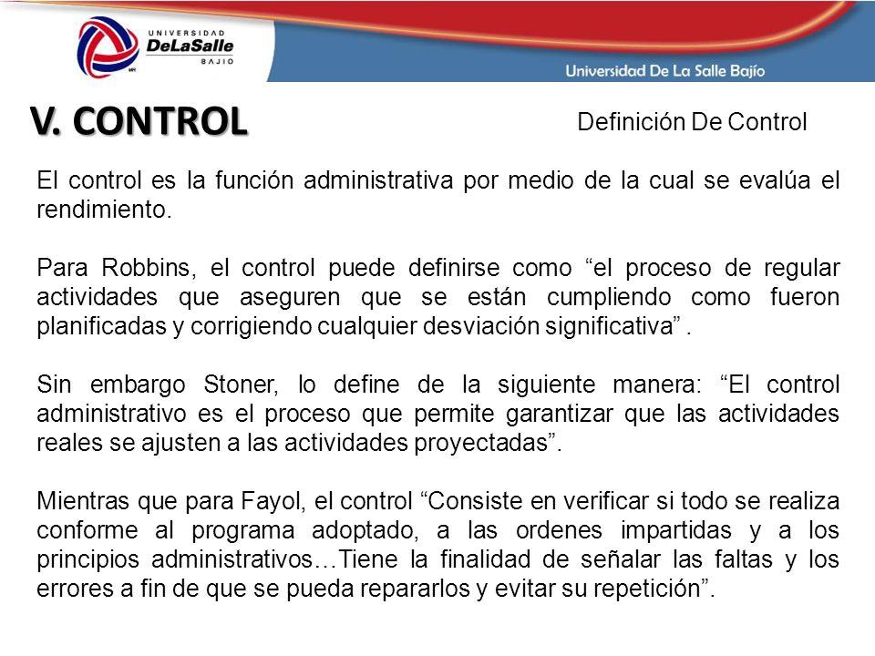 V. CONTROL Definición De Control