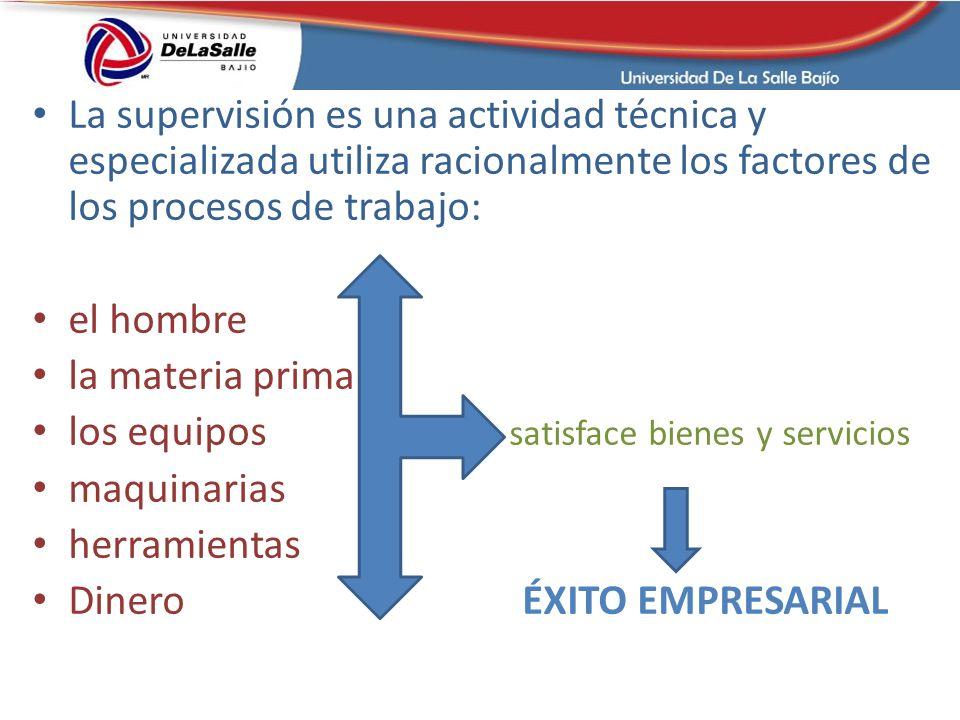 La supervisión es una actividad técnica y especializada utiliza racionalmente los factores de los procesos de trabajo:
