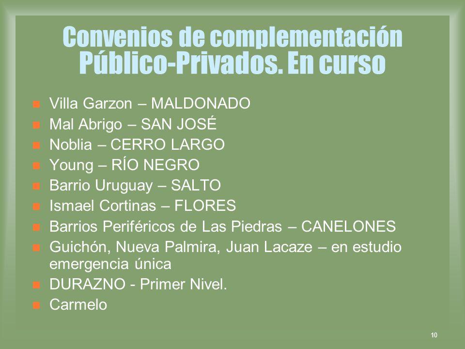 Convenios de complementación Público-Privados. En curso