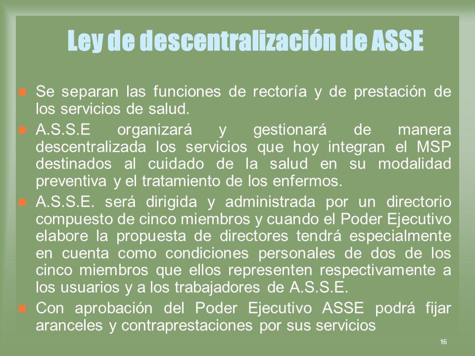 Ley de descentralización de ASSE
