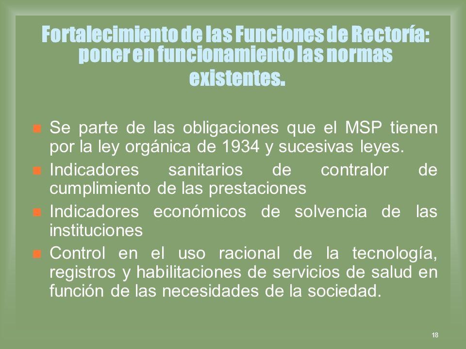 Fortalecimiento de las Funciones de Rectoría: poner en funcionamiento las normas existentes.