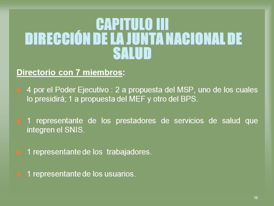 CAPITULO III DIRECCIÓN DE LA JUNTA NACIONAL DE SALUD