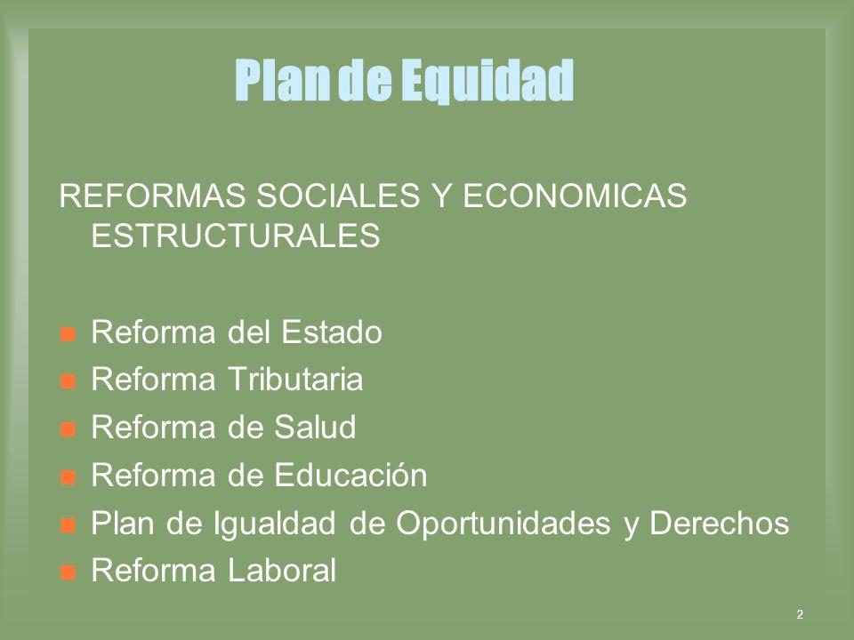 Plan de Equidad REFORMAS SOCIALES Y ECONOMICAS ESTRUCTURALES