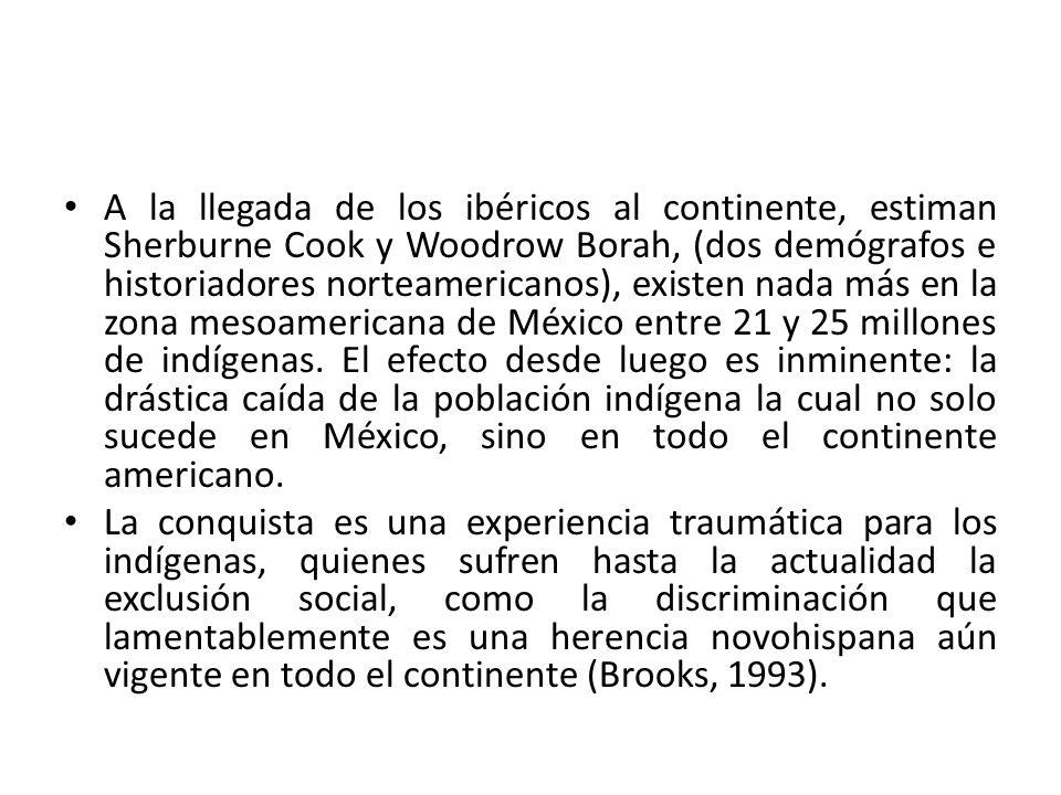 A la llegada de los ibéricos al continente, estiman Sherburne Cook y Woodrow Borah, (dos demógrafos e historiadores norteamericanos), existen nada más en la zona mesoamericana de México entre 21 y 25 millones de indígenas. El efecto desde luego es inminente: la drástica caída de la población indígena la cual no solo sucede en México, sino en todo el continente americano.