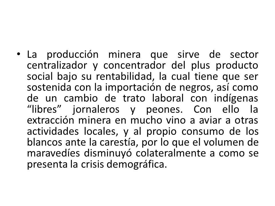 La producción minera que sirve de sector centralizador y concentrador del plus producto social bajo su rentabilidad, la cual tiene que ser sostenida con la importación de negros, así como de un cambio de trato laboral con indígenas libres jornaleros y peones.