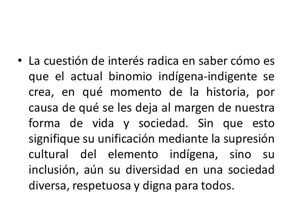 La cuestión de interés radica en saber cómo es que el actual binomio indígena-indigente se crea, en qué momento de la historia, por causa de qué se les deja al margen de nuestra forma de vida y sociedad.