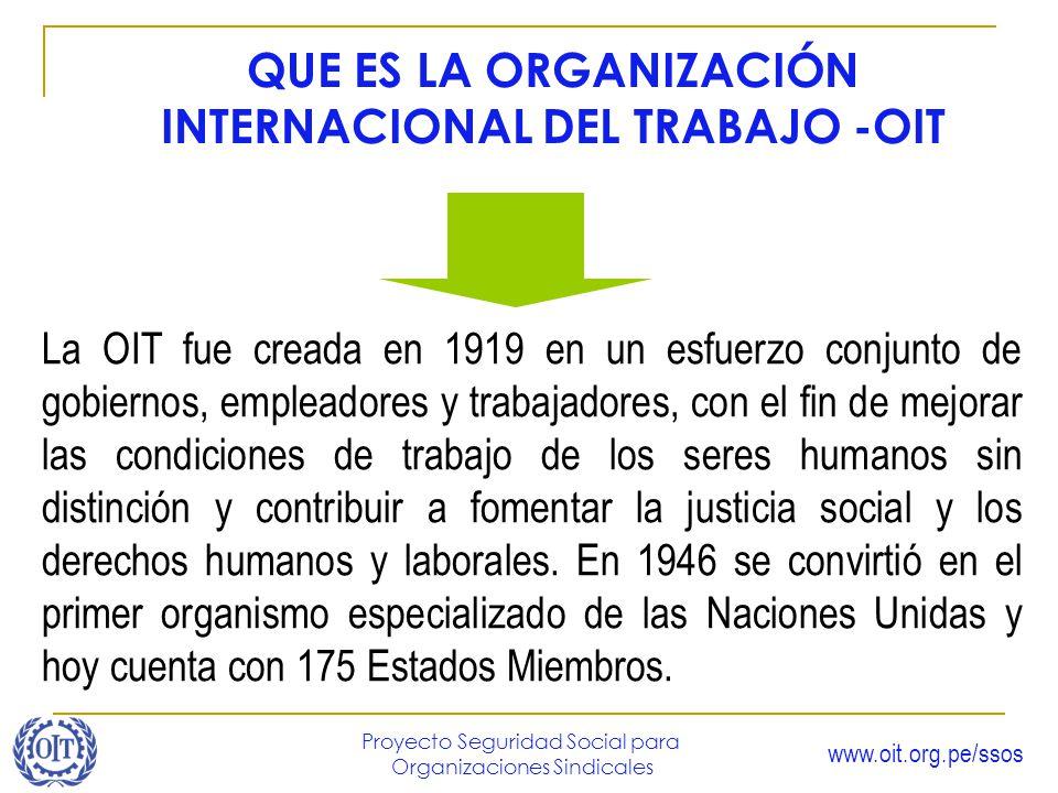 QUE ES LA ORGANIZACIÓN INTERNACIONAL DEL TRABAJO -OIT
