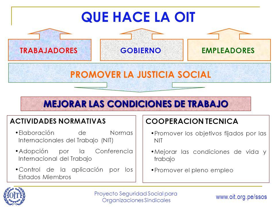 PROMOVER LA JUSTICIA SOCIAL MEJORAR LAS CONDICIONES DE TRABAJO