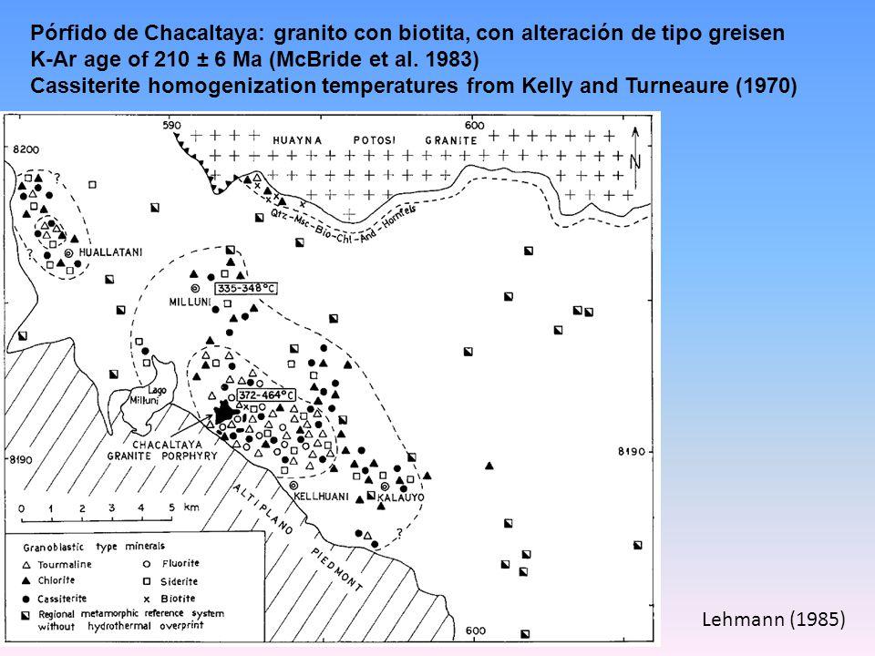 Pórfido de Chacaltaya: granito con biotita, con alteración de tipo greisen