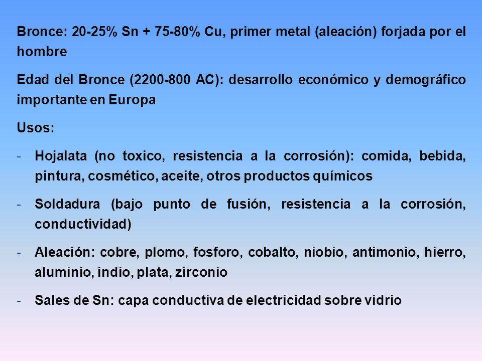 Bronce: 20-25% Sn + 75-80% Cu, primer metal (aleación) forjada por el hombre