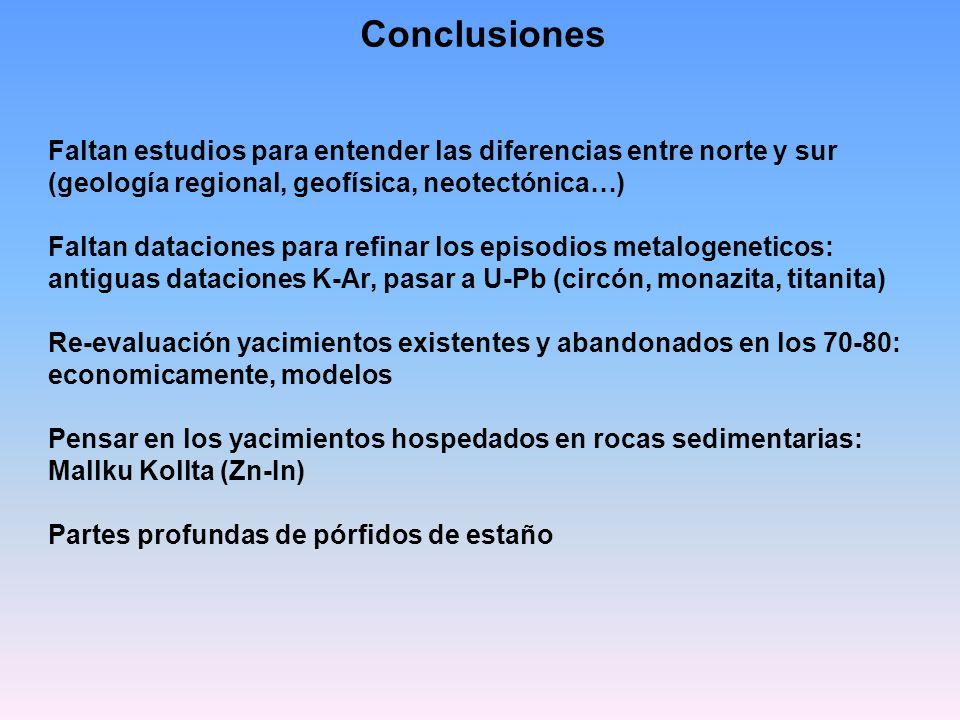 Conclusiones Faltan estudios para entender las diferencias entre norte y sur (geología regional, geofísica, neotectónica…)