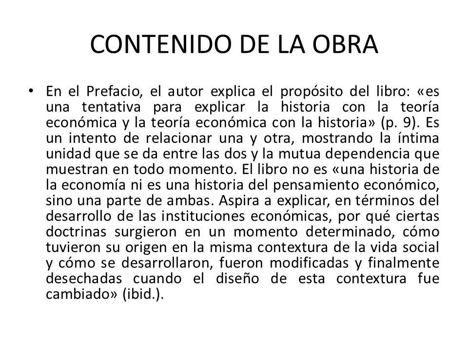 CONTENIDO DE LA OBRA
