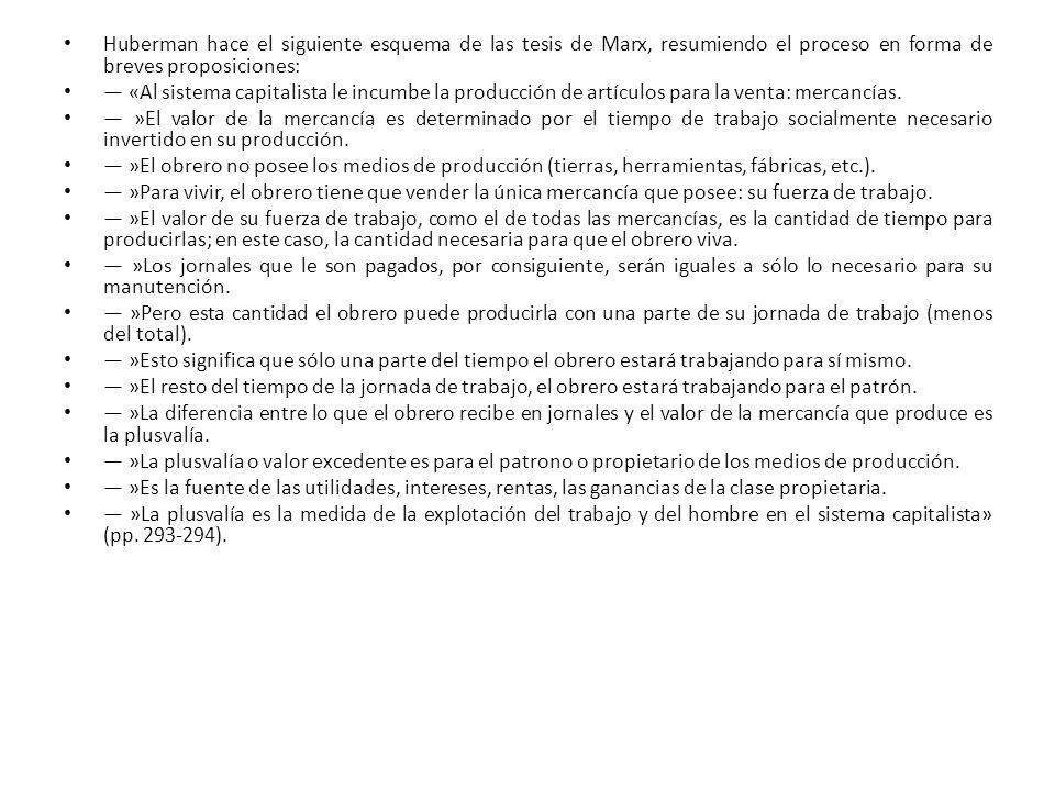Huberman hace el siguiente esquema de las tesis de Marx, resumiendo el proceso en forma de breves proposiciones: