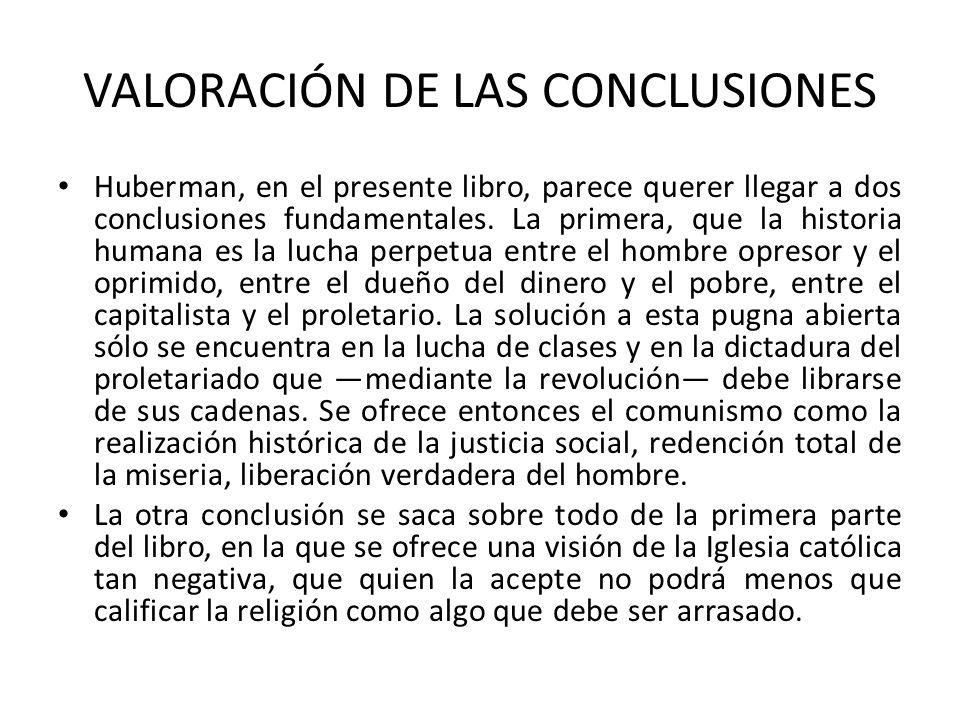 VALORACIÓN DE LAS CONCLUSIONES