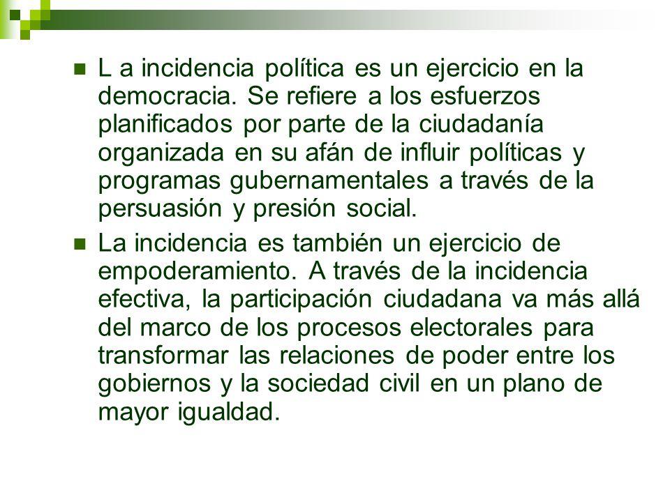 L a incidencia política es un ejercicio en la democracia