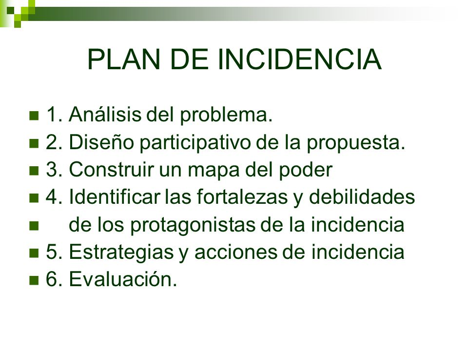 PLAN DE INCIDENCIA 1. Análisis del problema.