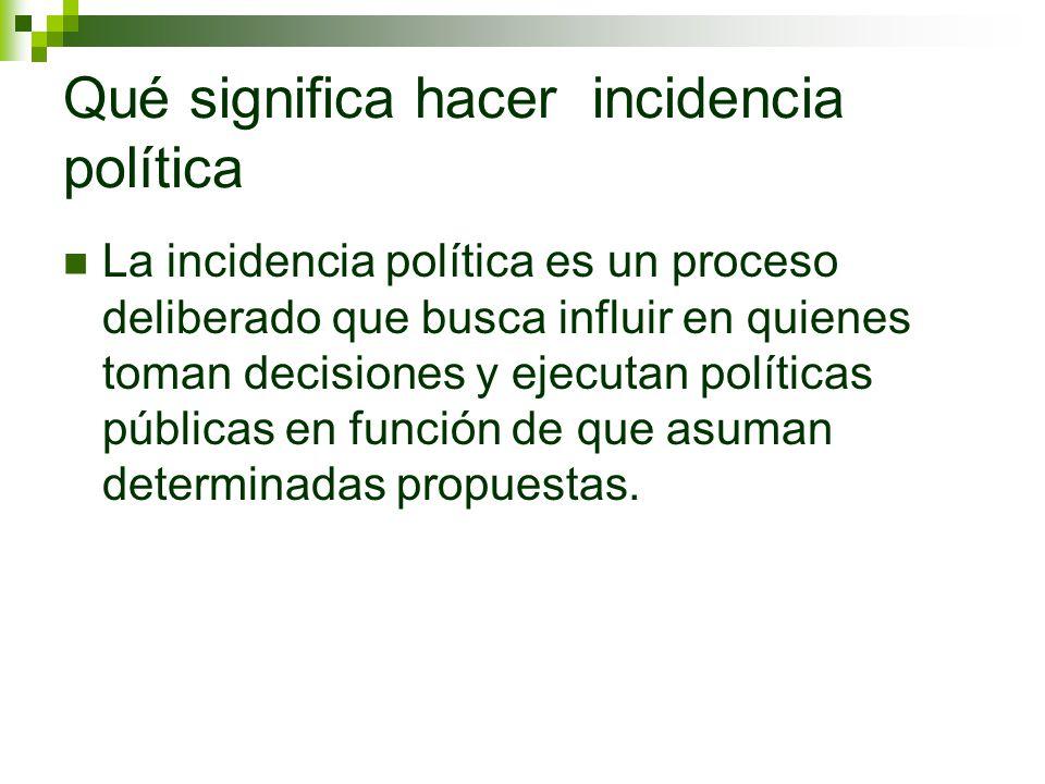 Qué significa hacer incidencia política
