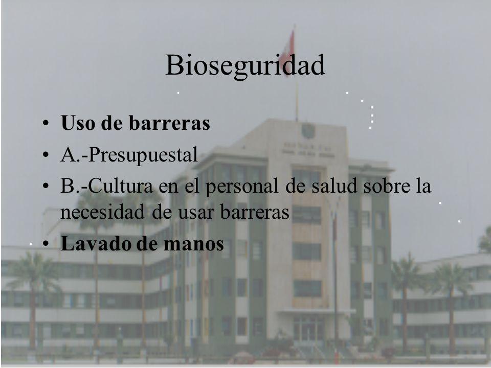 Bioseguridad Uso de barreras A.-Presupuestal