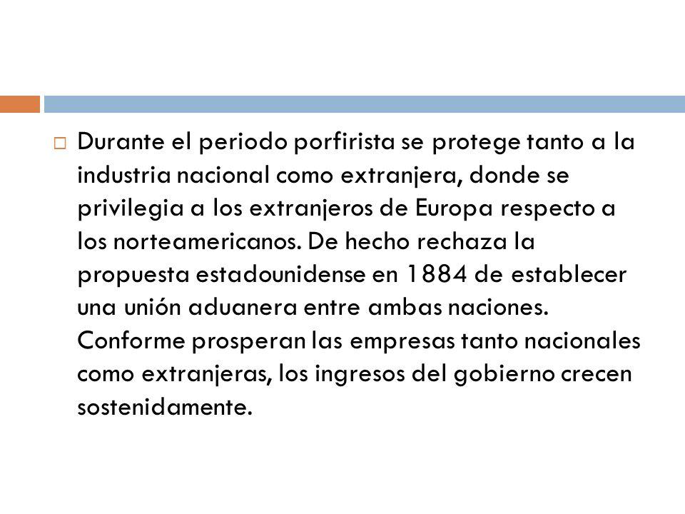 Durante el periodo porfirista se protege tanto a la industria nacional como extranjera, donde se privilegia a los extranjeros de Europa respecto a los norteamericanos.