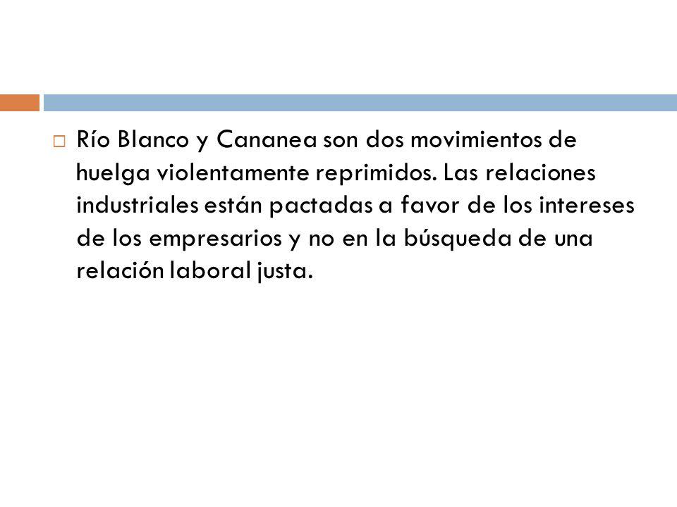 Río Blanco y Cananea son dos movimientos de huelga violentamente reprimidos.