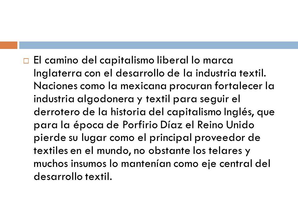 El camino del capitalismo liberal lo marca Inglaterra con el desarrollo de la industria textil.