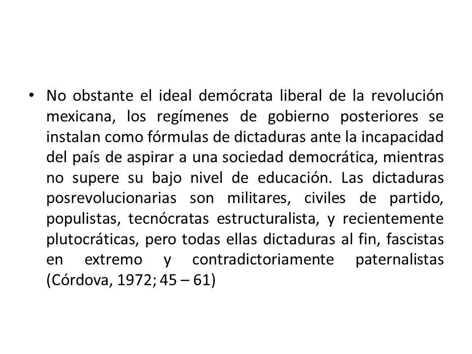 No obstante el ideal demócrata liberal de la revolución mexicana, los regímenes de gobierno posteriores se instalan como fórmulas de dictaduras ante la incapacidad del país de aspirar a una sociedad democrática, mientras no supere su bajo nivel de educación.