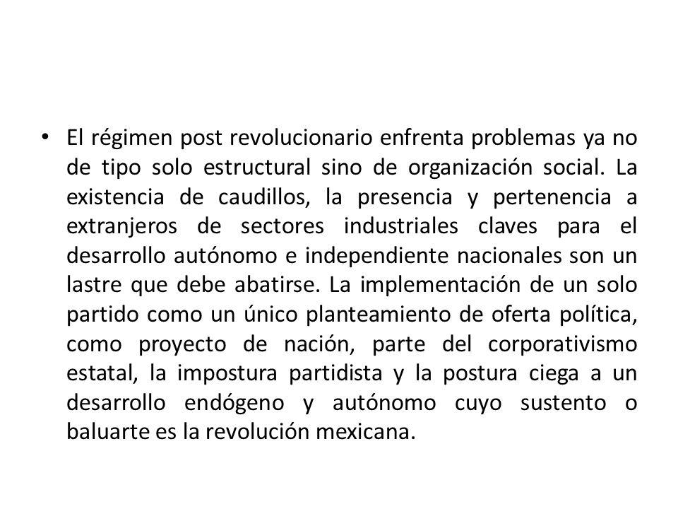 El régimen post revolucionario enfrenta problemas ya no de tipo solo estructural sino de organización social.