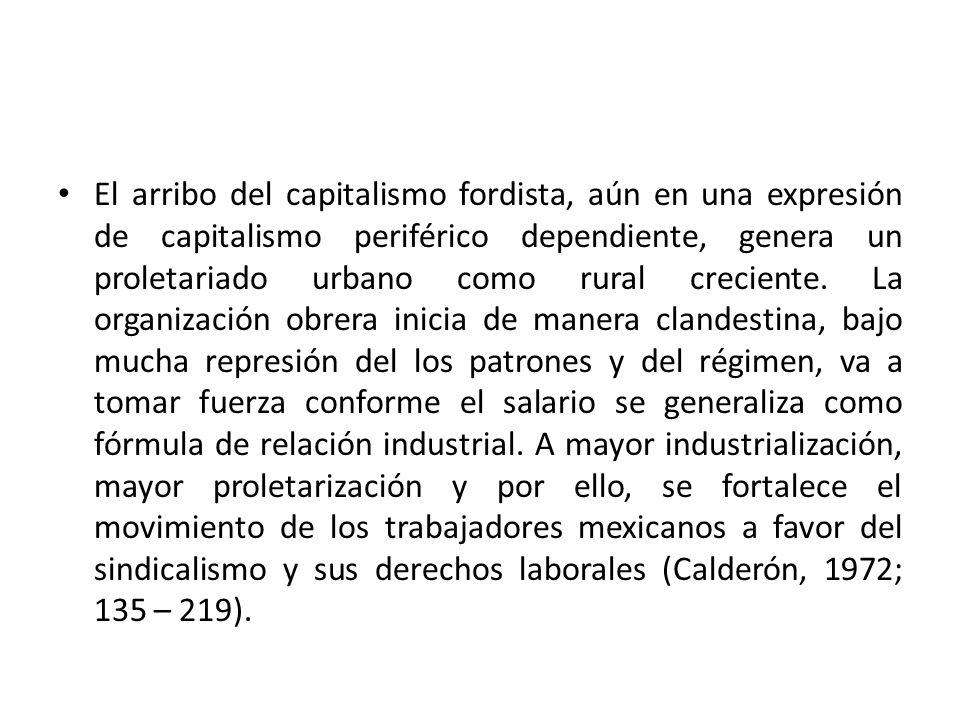 El arribo del capitalismo fordista, aún en una expresión de capitalismo periférico dependiente, genera un proletariado urbano como rural creciente.