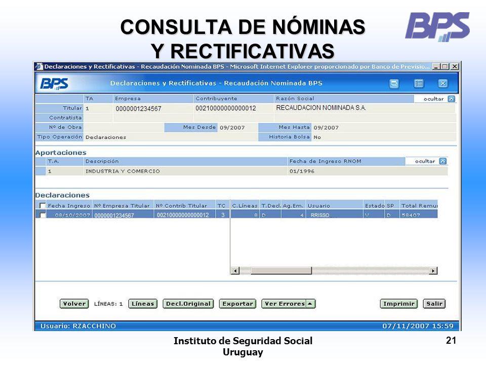 CONSULTA DE NÓMINAS Y RECTIFICATIVAS