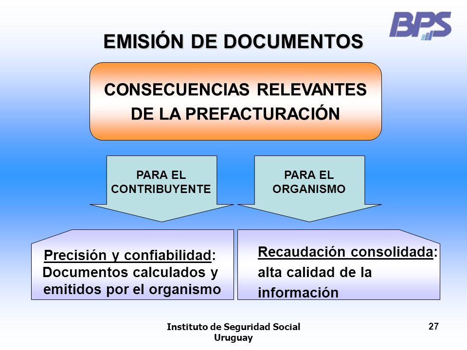 EMISIÓN DE DOCUMENTOS CONSECUENCIAS RELEVANTES DE LA PREFACTURACIÓN