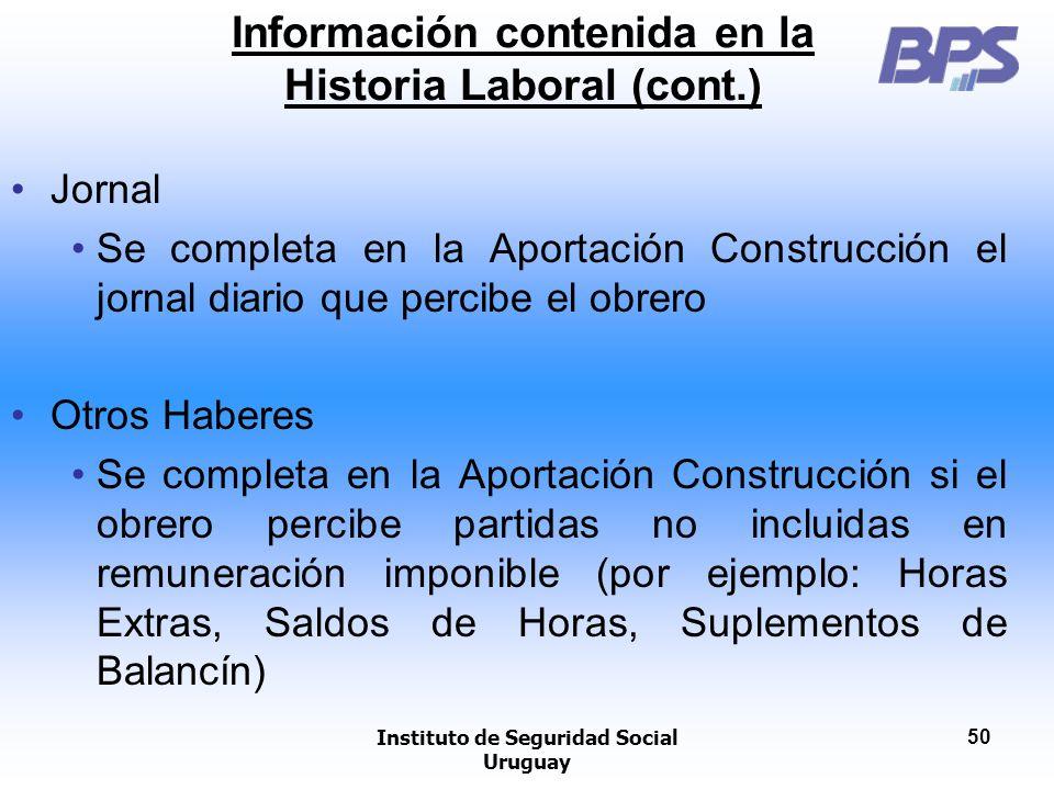 Información contenida en la Historia Laboral (cont.)