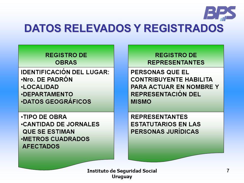 DATOS RELEVADOS Y REGISTRADOS Instituto de Seguridad Social