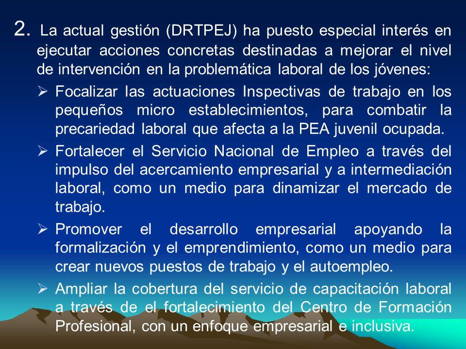 2. La actual gestión (DRTPEJ) ha puesto especial interés en ejecutar acciones concretas destinadas a mejorar el nivel de intervención en la problemática laboral de los jóvenes: