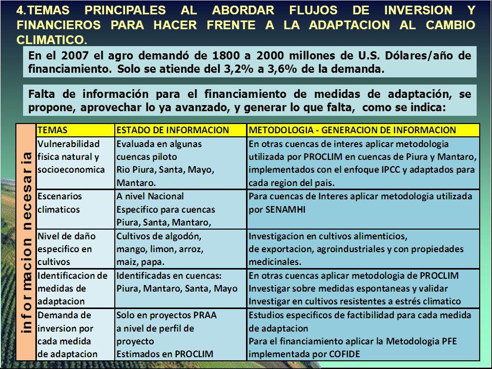 4.TEMAS PRINCIPALES AL ABORDAR FLUJOS DE INVERSION Y FINANCIEROS PARA HACER FRENTE A LA ADAPTACION AL CAMBIO CLIMATICO.