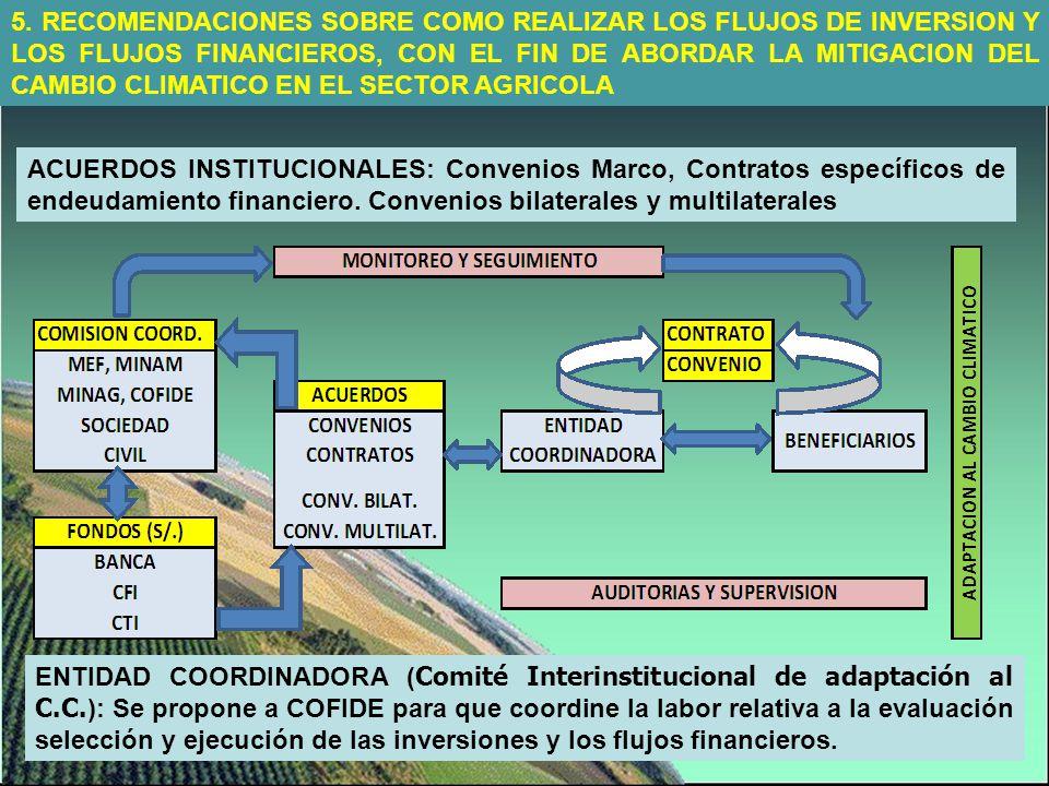 5. RECOMENDACIONES SOBRE COMO REALIZAR LOS FLUJOS DE INVERSION Y LOS FLUJOS FINANCIEROS, CON EL FIN DE ABORDAR LA MITIGACION DEL CAMBIO CLIMATICO EN EL SECTOR AGRICOLA