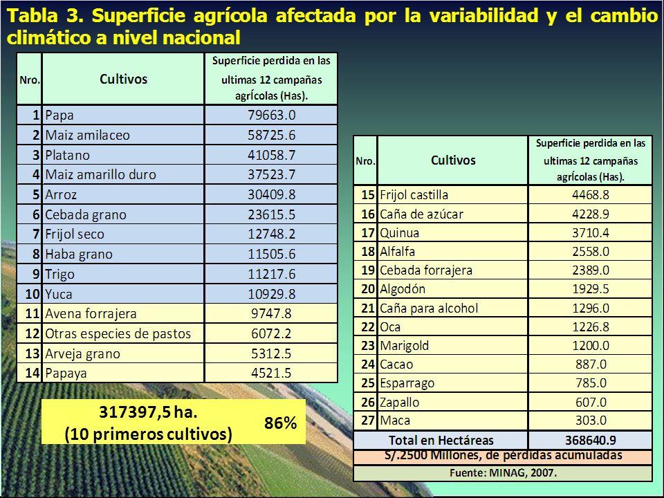 Tabla 3. Superficie agrícola afectada por la variabilidad y el cambio climático a nivel nacional