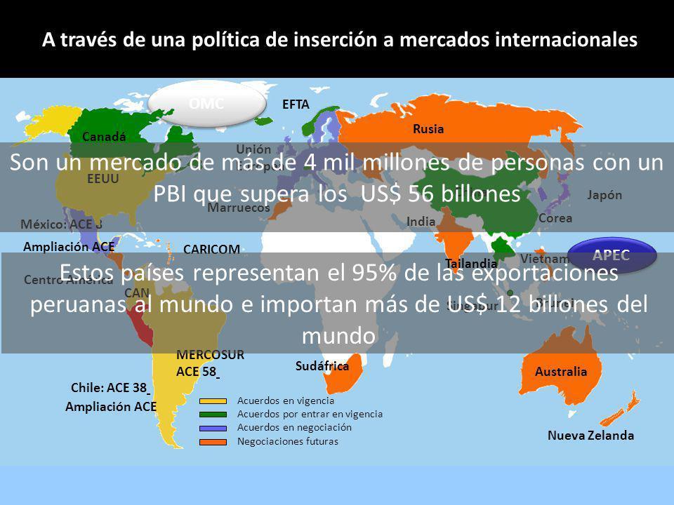 A través de una política de inserción a mercados internacionales