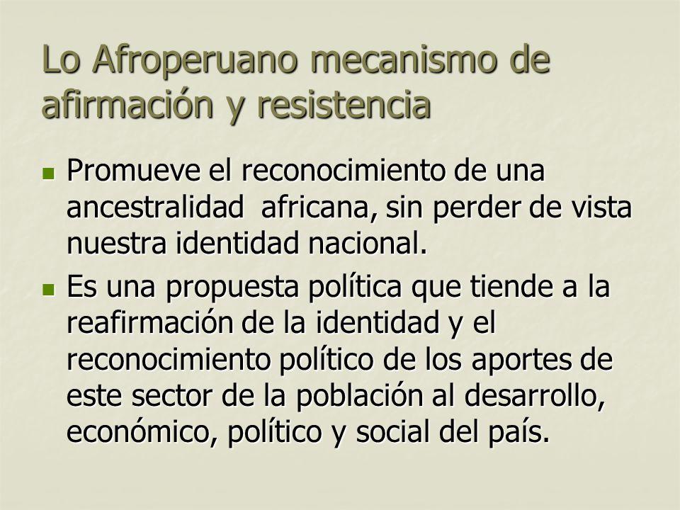Lo Afroperuano mecanismo de afirmación y resistencia