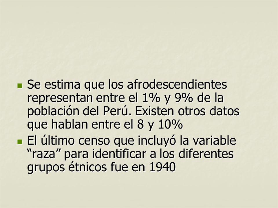 Se estima que los afrodescendientes representan entre el 1% y 9% de la población del Perú. Existen otros datos que hablan entre el 8 y 10%