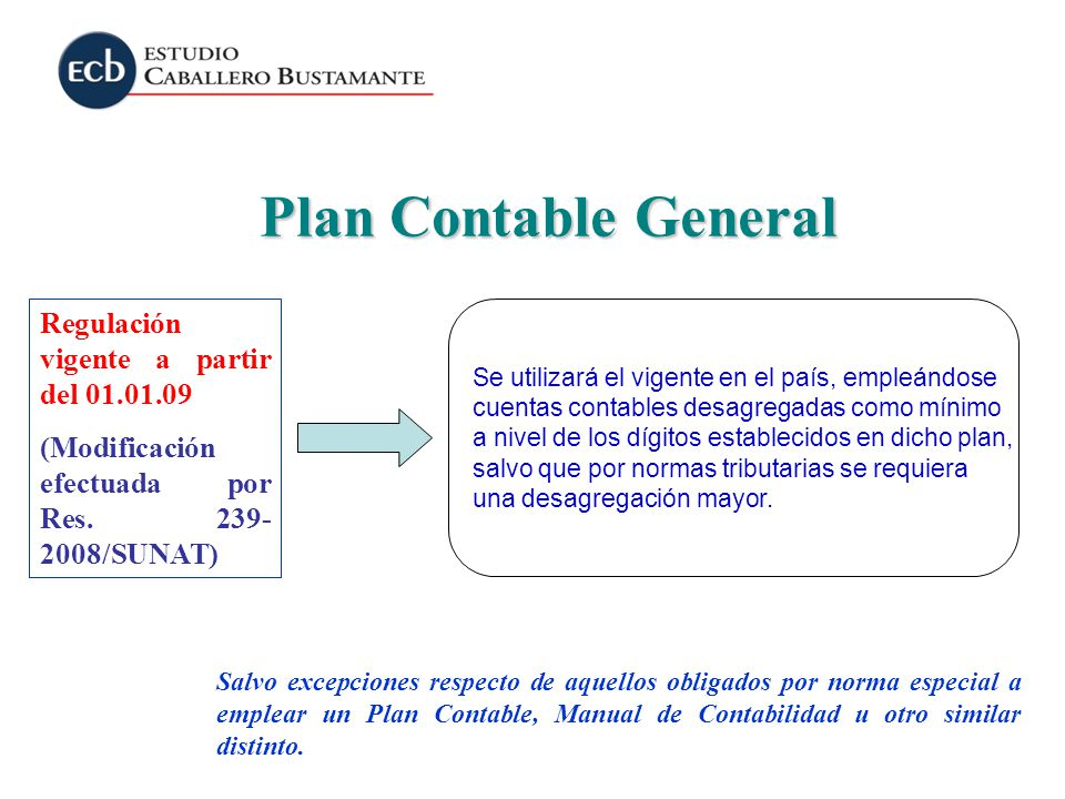 Plan Contable General Regulación vigente a partir del 01.01.09