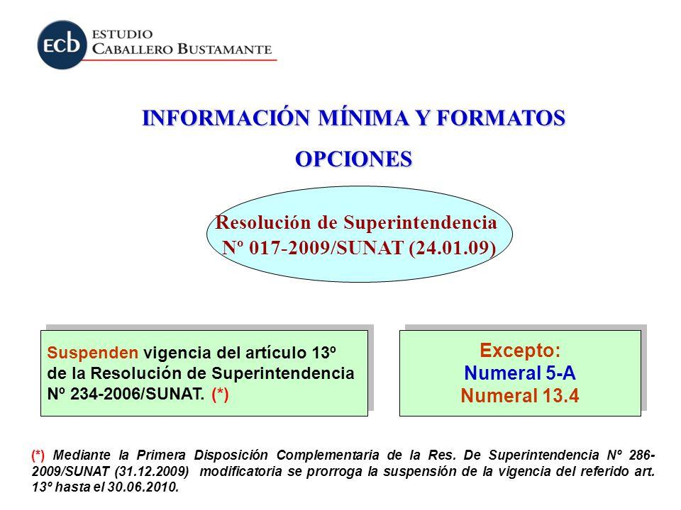 INFORMACIÓN MÍNIMA Y FORMATOS Resolución de Superintendencia