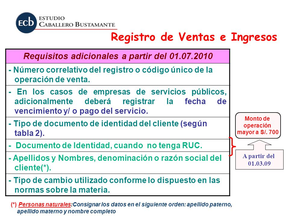 Requisitos adicionales a partir del 01.07.2010