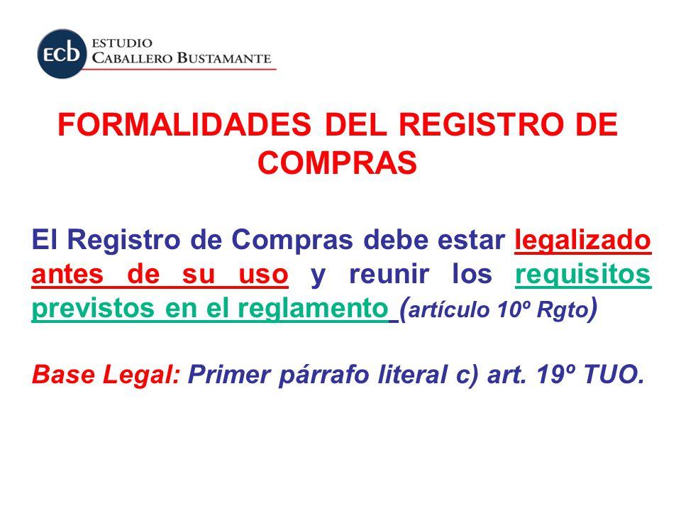 FORMALIDADES DEL REGISTRO DE COMPRAS