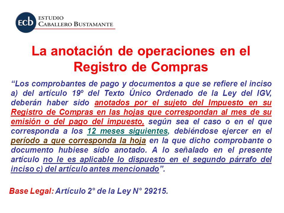 La anotación de operaciones en el Registro de Compras