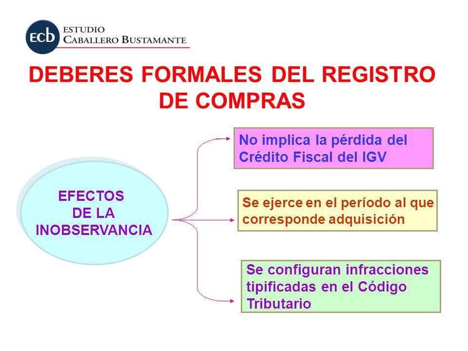DEBERES FORMALES DEL REGISTRO DE COMPRAS