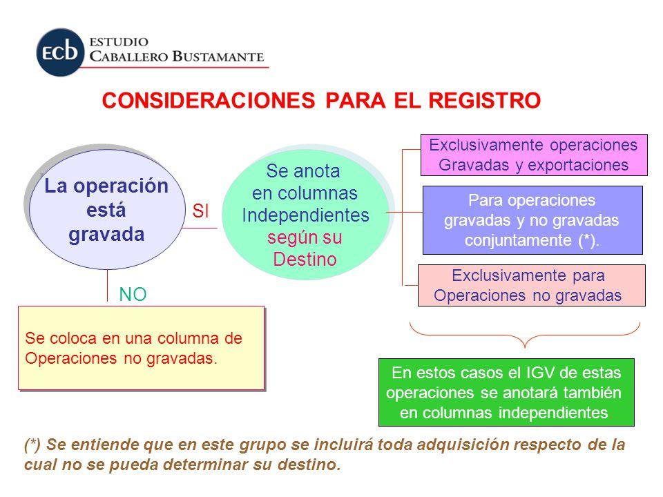 CONSIDERACIONES PARA EL REGISTRO