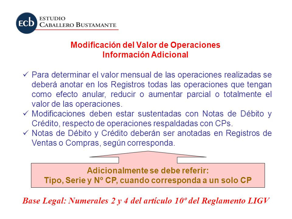 Modificación del Valor de Operaciones Información Adicional