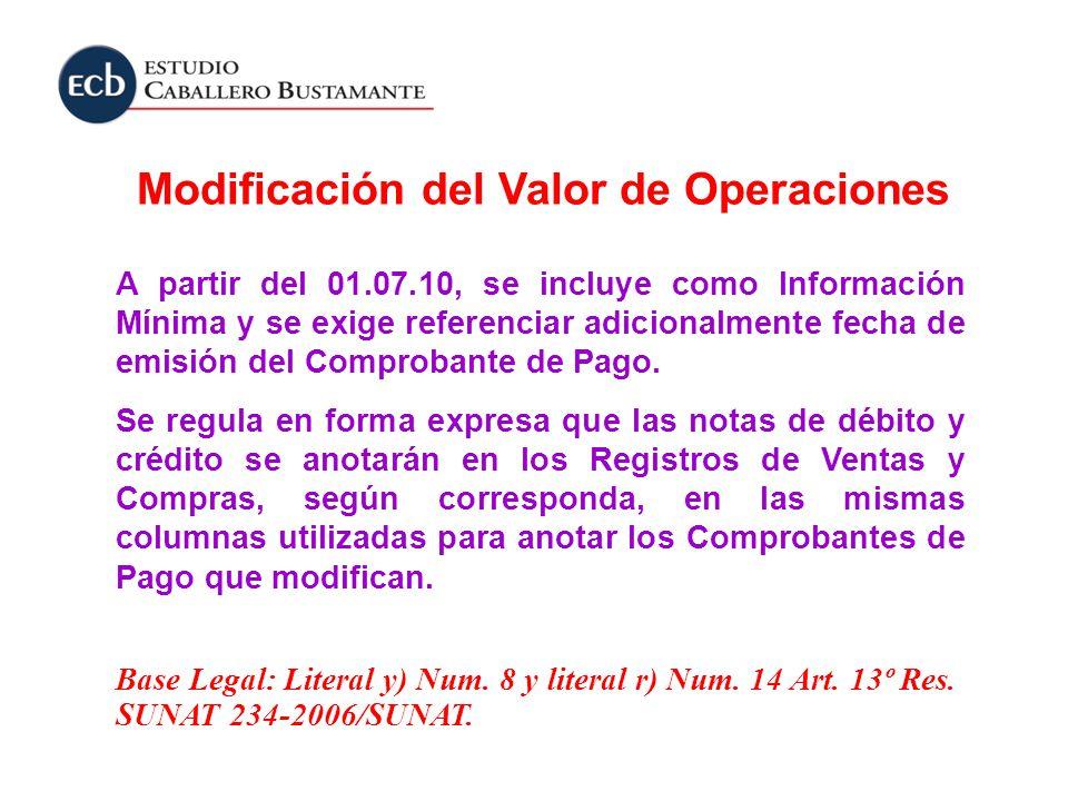 Modificación del Valor de Operaciones